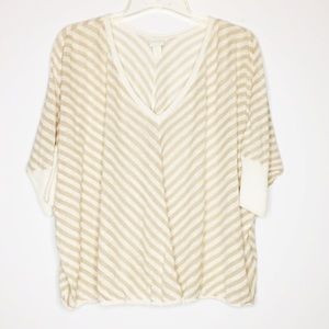 Chico's Womens Knit Linen blend Blouse Oversized